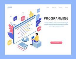 Página de destino de programação isométrica