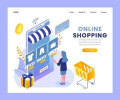 Online shopping isometric landing page