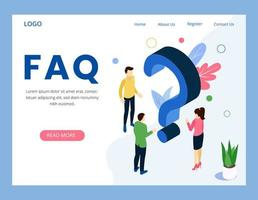FAQ frequently asked question landing page  vector