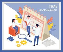 Isometric time management landing page template  vector