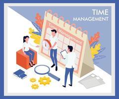 Plantilla de página de destino de gestión de tiempo isométrica vector