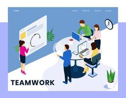 Isometric corporate teamwork concept