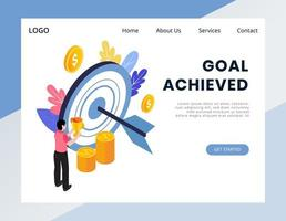 Isometric goal achievement web banner