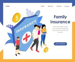 Isometric health insurance landing page vector