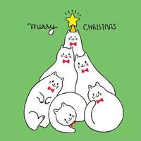 Cartoon cute Christmas, Cats frame christmas tree vector.