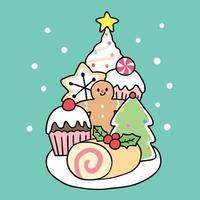 Dibujos animados lindo postre dulce de Navidad