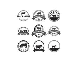 Cow emblem logo set