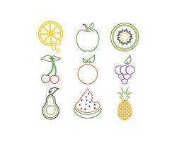 Conjunto de ícones de logotipo de fruta colorida