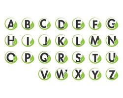 Alphabet initial and leaf logo icon set