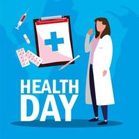 world health day card with female doctor and icons