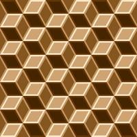 3d box seamless pattern on brown tone.