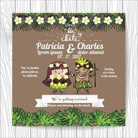Wedding invitation with tropical Cartoon Bride and Groom Bride