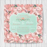Wedding invitation card with pink rose flowers and hummingbirds