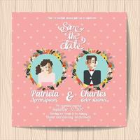 Wedding invitation with Cartoon Bride and flower blossoms on pink background