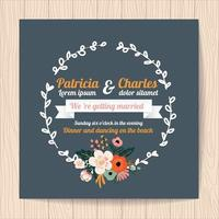 Wedding invitation card with flower wreath