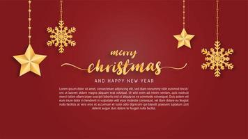 Merry Christmas  card in paper cut style background