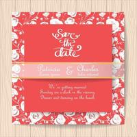 Wedding invitation red card with white roses