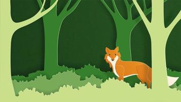 Paper art craft wild fox in the forest.