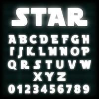 White neon alphabet font template