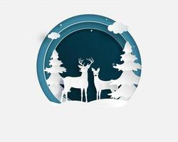 Love couple of deer in winter field  vector