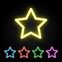 Colorful neon star set vector