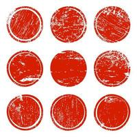 Set of red grunge texture circles