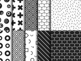 Set of trendy various geometric seamless pattern