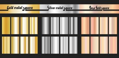 Gold silver and rose gold gradient vector
