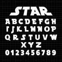 Star Alphabet font template vector