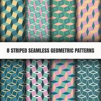 Set of striped seamless geometric patterns