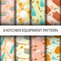 Seamless Kitchen tools pattern set vector
