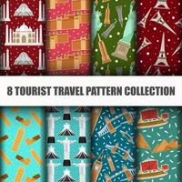 Set of Travel the World monument Seamless Pattern vector
