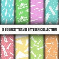 Set of Travel the World Seamless Pattern vector