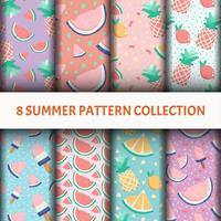 Fruit Pattern set with ice-cream vector