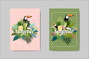 Beautiful Summer Card lettering card set vector