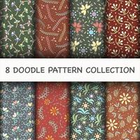 Doodle Pattern set with flower vector