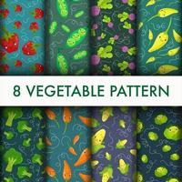 Seamless Vegetable cute pattern set.
