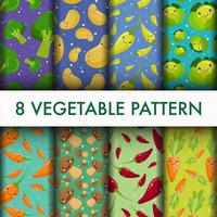 Cute seamless Vegetable pattern set