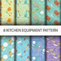 Kitchen tools pattern set. vector