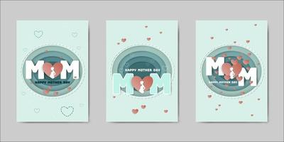 Set van Happy Mothers Day belettering wenskaarten