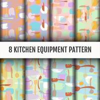 Kitchen tools pattern set vector