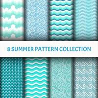 blue water wave Pattern set vector