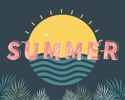 Beautiful Summer banner and poster flat card