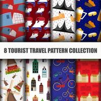 Set of Travel the World Holland Seamless Pattern