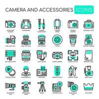 Kamera och tillbehör, tunna linjer och perfekta ikoner för pixlar
