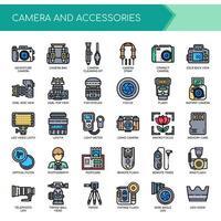 Câmera e acessórios, linha fina e ícones perfeitos de pixels