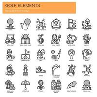 Golf Elements, Thin Line and Pixel Perfect Icons vector