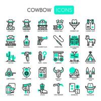 Icone da cowboy Elements, linea sottile e Pixel Perfect