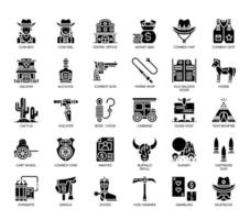 Cowboy Elements , Glyph Icons vector