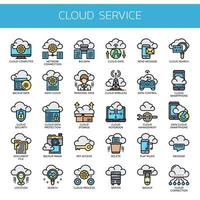 Cloud-Service, dünne Linie und Pixel Perfect Icons